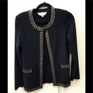 Black long sweater jacket with gold embellishment